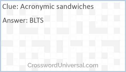 Acronymic sandwiches Answer