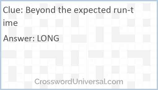 Beyond the expected run-time Answer