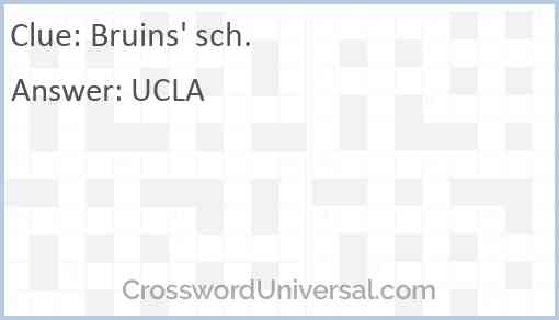 Bruins' sch. Answer