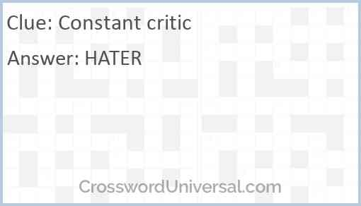 Constant critic Answer