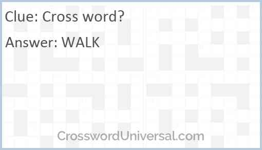 Cross word? Answer