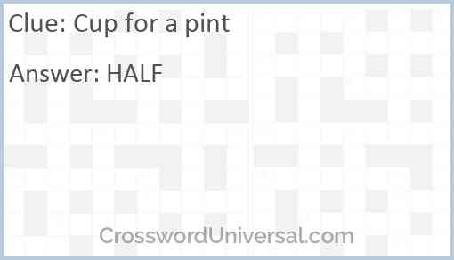 Cup for a pint Answer