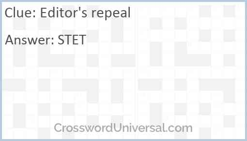 Editor's repeal Answer