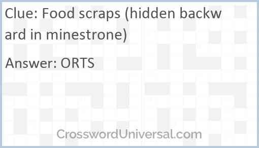 Food scraps (hidden backward in minestrone) Answer
