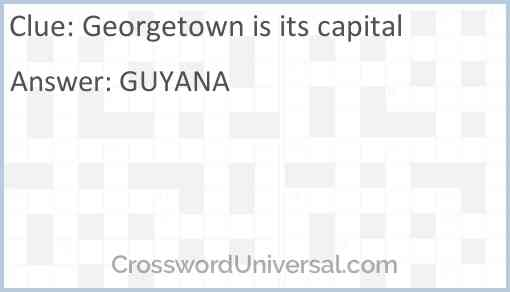 Georgetown is its capital Answer