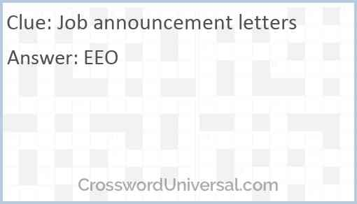 Job announcement letters Answer