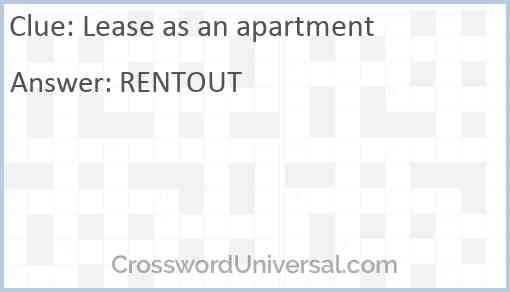 Lease as an apartment Answer