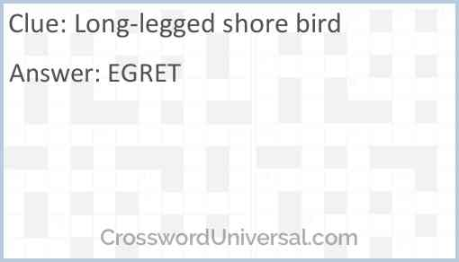 Long-legged shore bird Answer