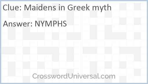 Maidens in Greek myth Answer