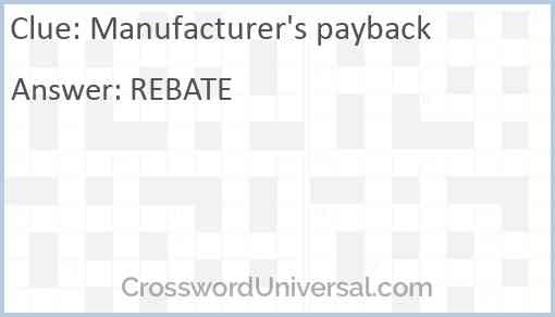 Manufacturer's payback Answer