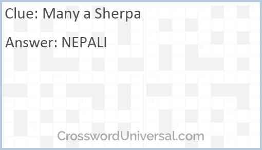 Many a Sherpa Answer