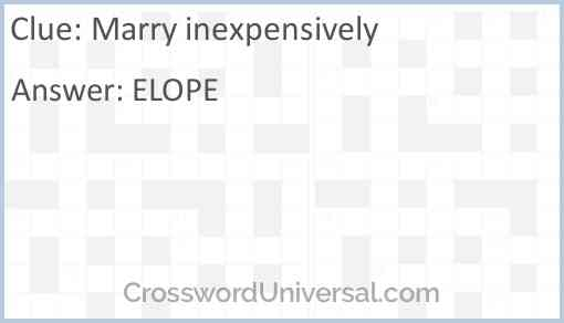 Marry inexpensively Answer