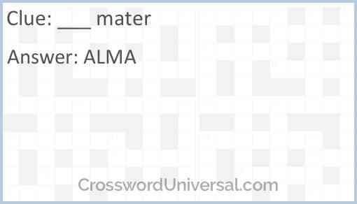 ___ mater Answer