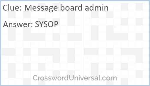 Message board admin Answer