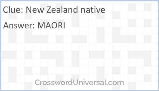 New Zealand native Answer
