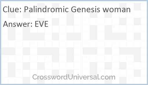 Palindromic Genesis woman Answer