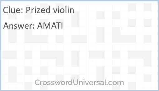 Prized violin Answer
