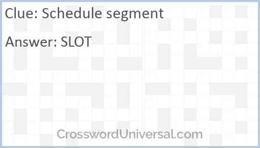 Schedule segment Answer