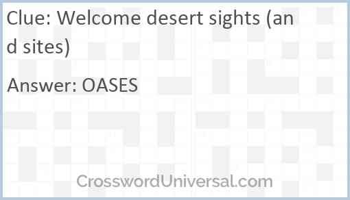 Welcome desert sights (and sites) Answer