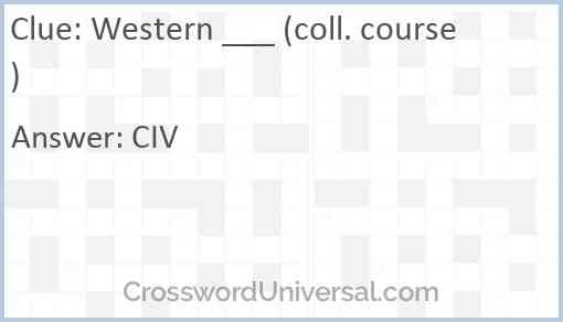Western ___ (coll. course) Answer
