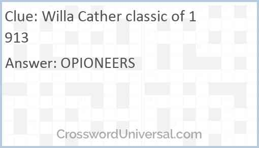 Willa Cather classic of 1913 Answer
