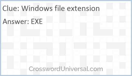 Windows file extension Answer
