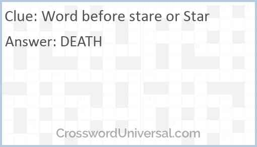 Word before stare or Star Answer