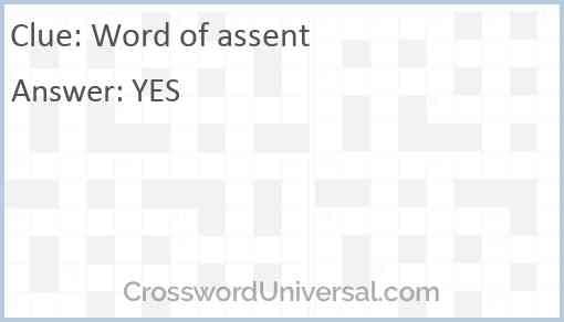 Word of assent Answer